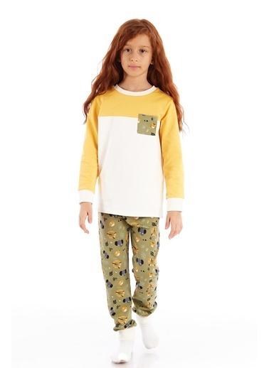 Colorinas Animals Unisex Haki-Sarı Pijama Takımı Haki